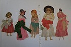 """19th C. paper dolls with crepe paper dresses  10"""""""