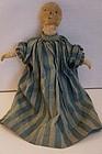 Sweet stump baby antique cloth doll blue calico dress