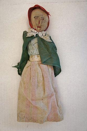 Antique stump Prairie doll homemade down on the farm 19th C.