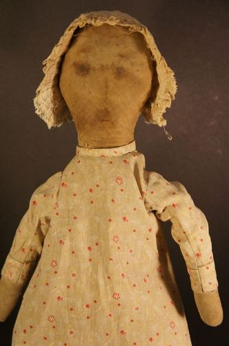 Great old rag doll with ink painted face calico wrapped body 20""