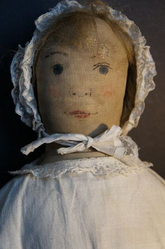 "Afternoon tea for blue eyed beauty, 26"" tall all hand sewn antique"