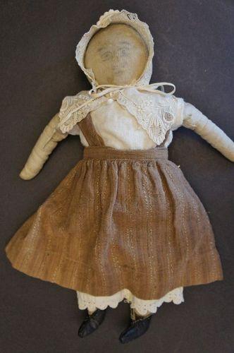 """A funny little pencil face homespun linen doll  15"""" antique"""