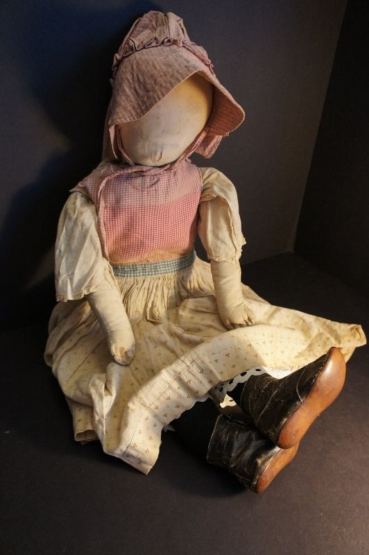 """26"""" antique pencil face cloth doll with great clothes"""