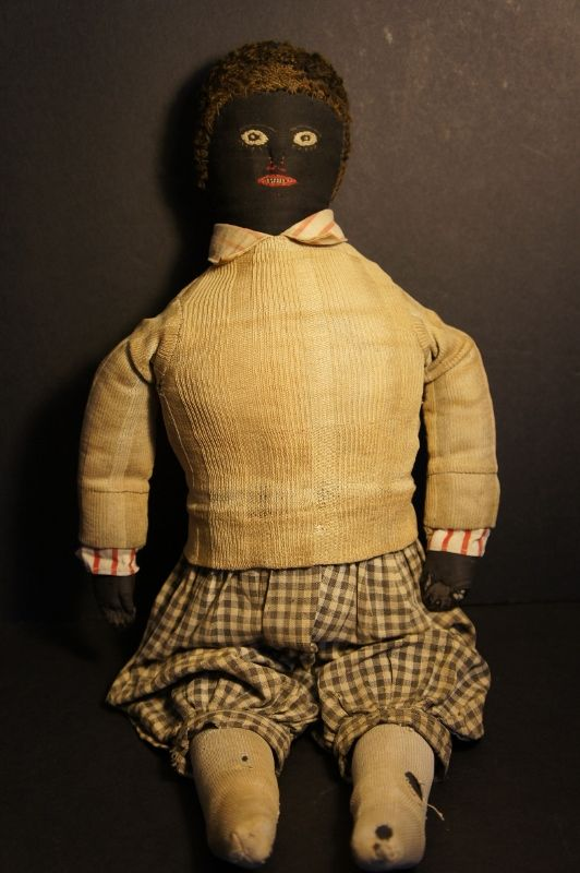 "18"" black boy doll with very fine embroidered face C. 1880 antique"