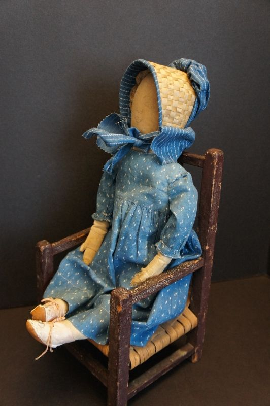 "Blue calico dress and bonnet on 19"" pencil drawn face doll"
