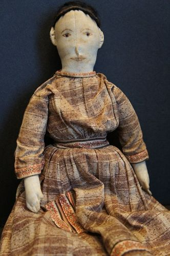 Very fine hand sewn 1880 doll great clothes amazing hair 16""