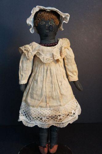 "Dina, 15"" embroidered face antique black doll original clothes 1880"