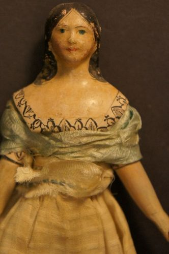 "6 1/2"" papier mache milliner doll blue eyes long curls 1830"
