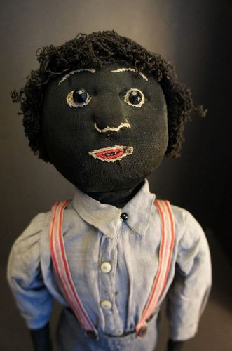 Antique boy cloth doll with corncob legs, embroidered face 1890