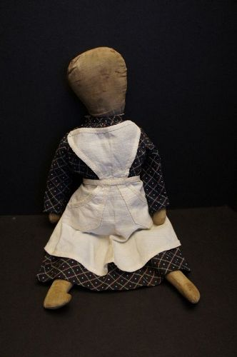 Pencil face cloth doll with a little o for a mouth, a country doll