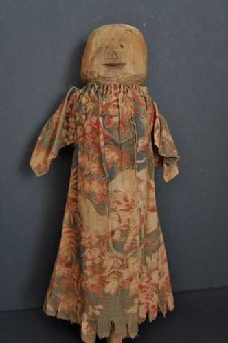Early primitive wooden doll with great dress 1830 bed post wrench doll