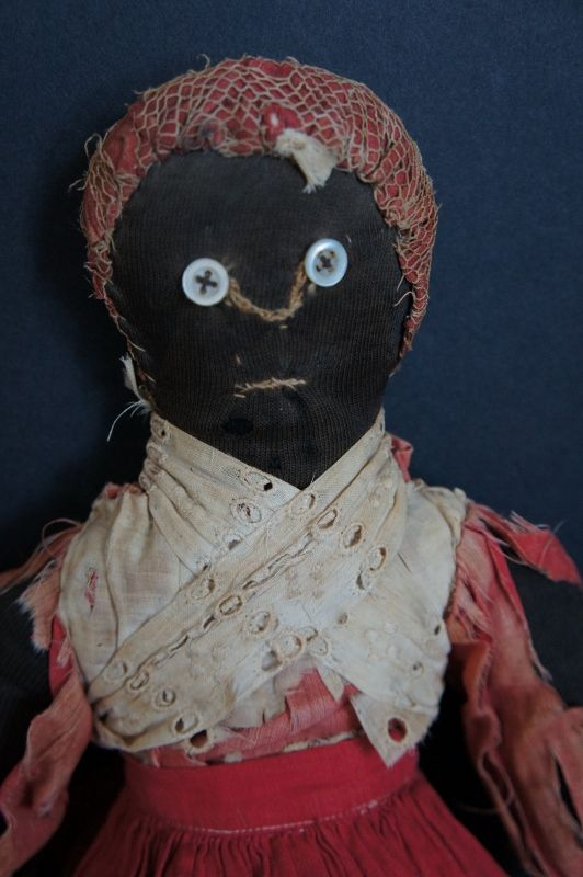 """Great old wrecky black cloth doll original clothes antique 16"""""""