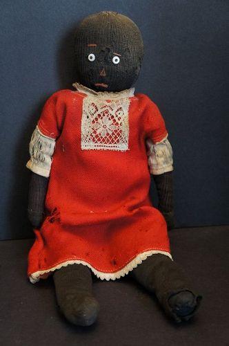 "A precious stockinette black doll as found rag stuffed 16"""