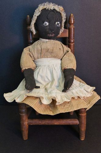 """Very nice little 13"""" stockinette black doll great face great clothes"""