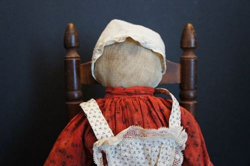 "Sweet simple face rag doll with funny little hands 12"" C. 1890"