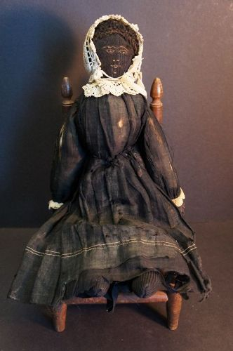 Untouched antique black cloth doll fine embroidered face  17""