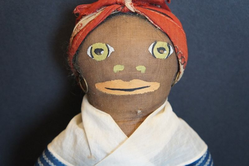 """15"""" Painted face black cloth doll blue calico dress C. 1920"""