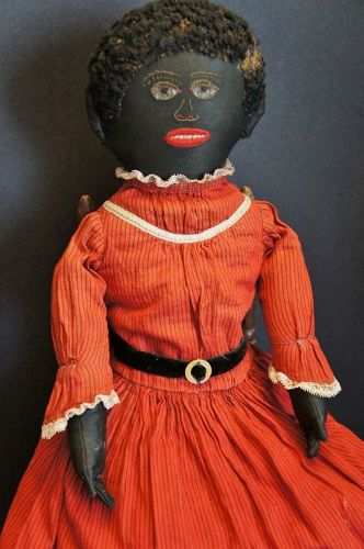 "Sunday black cloth doll, the best embroidered face 22"" all orig"