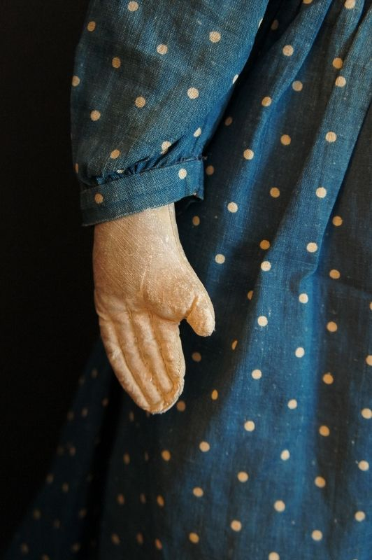 """Heart stopper, painted face doll with blue polka dot dress 22"""" C. 1880"""