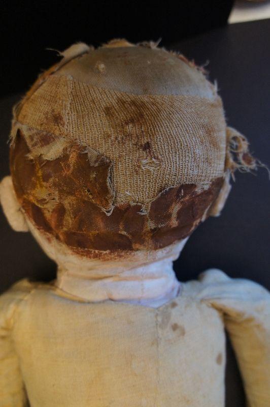 "Slightly shy big blue eyes painted face doll 25"" circa 1890"