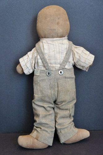 "A little guy, 14""  all American rag doll with a pencil face C. 1900"
