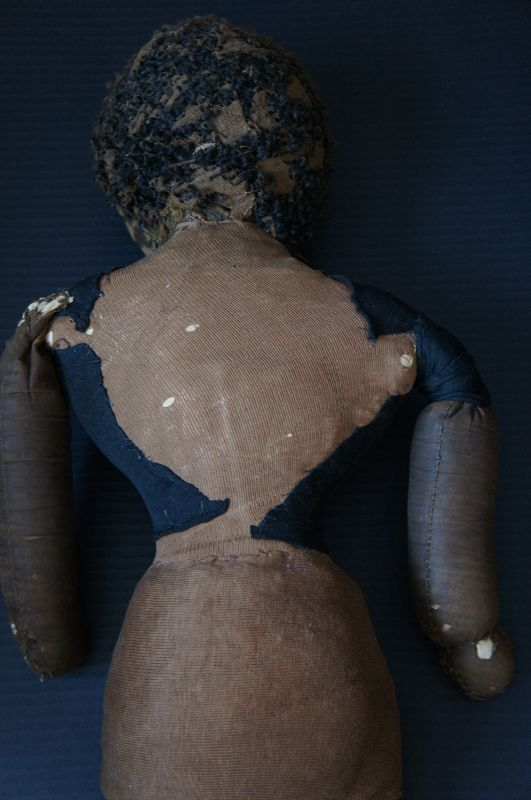 """28"""" heavy antique black cloth doll with great face C1880-90"""