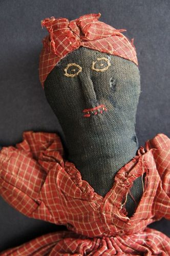 """1880 topsy turvy doll with embroidered faces and raised noses  11"""""""
