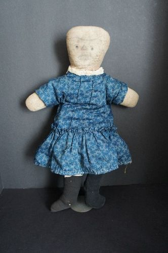 "20"" funny little flannel doll rag stuffed and pencil face C1890"