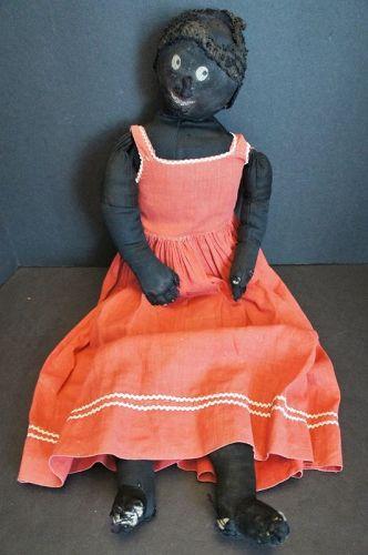 "A little bit flirty black cloth doll in her favorite red dress 24"""