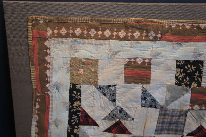 "1850-60 brown and red doll quilt 15"" by 17"" newly mounted"