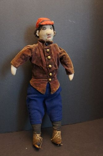 "This little guy is a muscled up 17"" tall great face and clothes 1890"