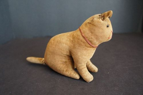 Antique velvet rattle toy cat   C1890