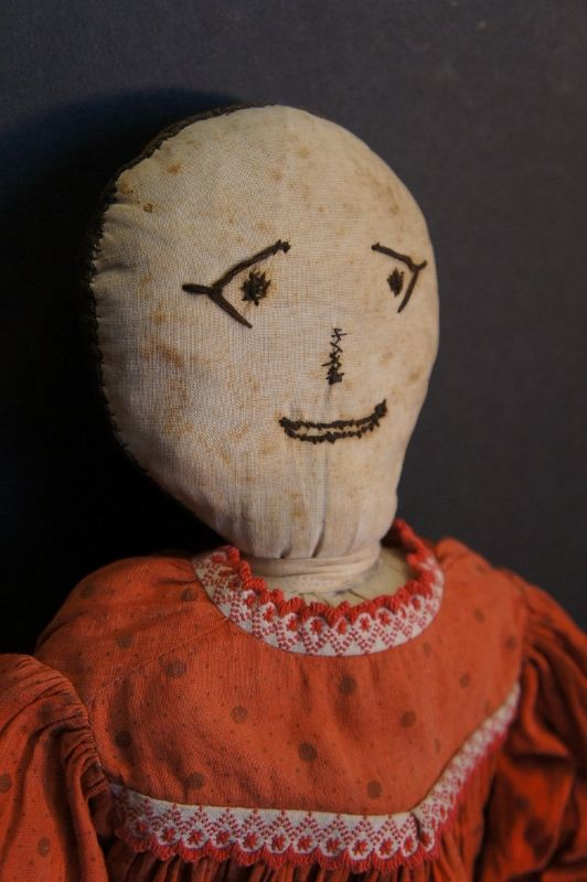 """23""""  embroidered face rag doll from an old collection C1890"""