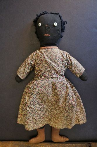 "16"" button eyed doll, pinched nose, east west feet 1900"