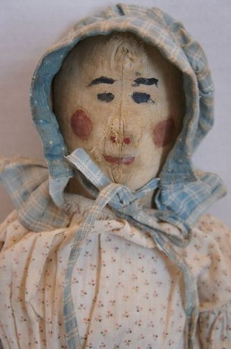 "24"" folky painted face cloth doll rosy red cheeks Circa 1880"