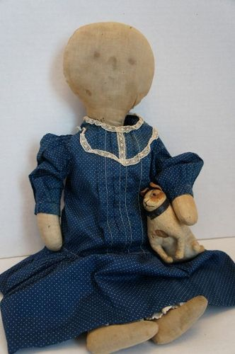 "Sweet Lollipop heard doll. 20"" wearing a blue calico dress. C. 1890"