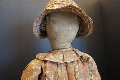 "22""  lovely lady with a straw hat and brown calico dress C.1890"