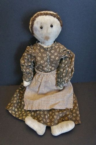 The sweet look of surprise, rag doll in brown calico dress 16""