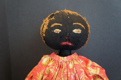Antique black stockinette doll with a great little face
