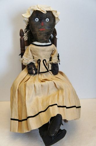 20 black cloth doll, great face, hair ,shoes , clothes 19th C.Maine
