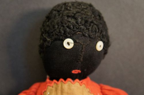 """16"""" stockinette black doll, button eyes great clothes"""
