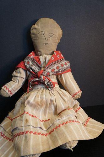 "18"" all hand sewn simple rag stuffed doll, flannel dress C1880"