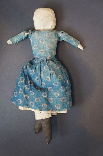 Old folky rag doll all original with pencil face great blue dress