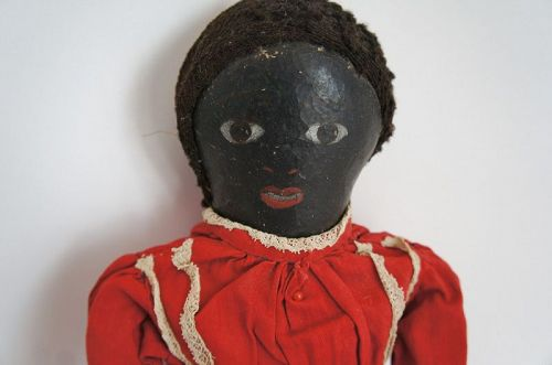 "17"" naive painted black cloth doll lovely face C. 1880"