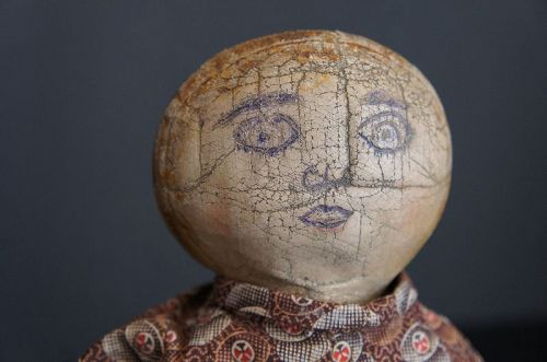 """17"""" Very cool early cloth doll with a wax face 1880"""