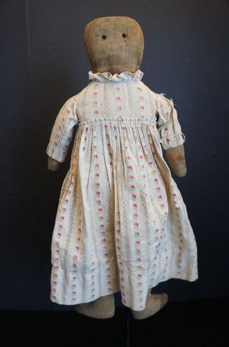 "Plain and simple rag doll in a forever dress 21"" C.1890"