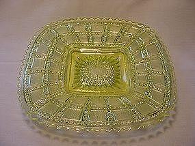 Beaded Block Square Plate - Vaseline Yellow