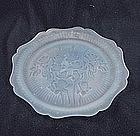 Iris & Herringbone Luncheon Plate - Blue Satin