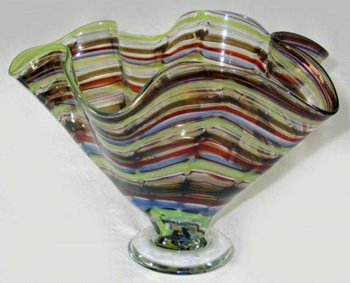 Colorful Wavy Glass Studio Art Center Bowl