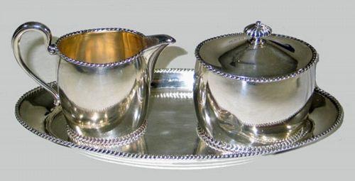 Continental Silver Creamer, Sugar, and Tray